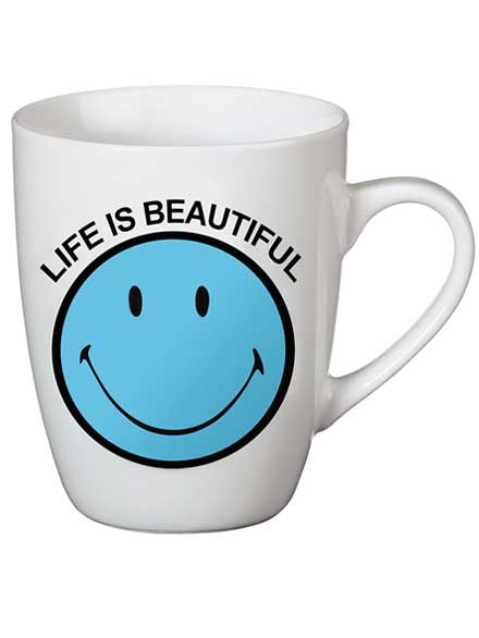 Taza Smiley Life is beautiful Azul