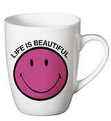 "Taza Smiley ""Life is beautiful"" Rosa"